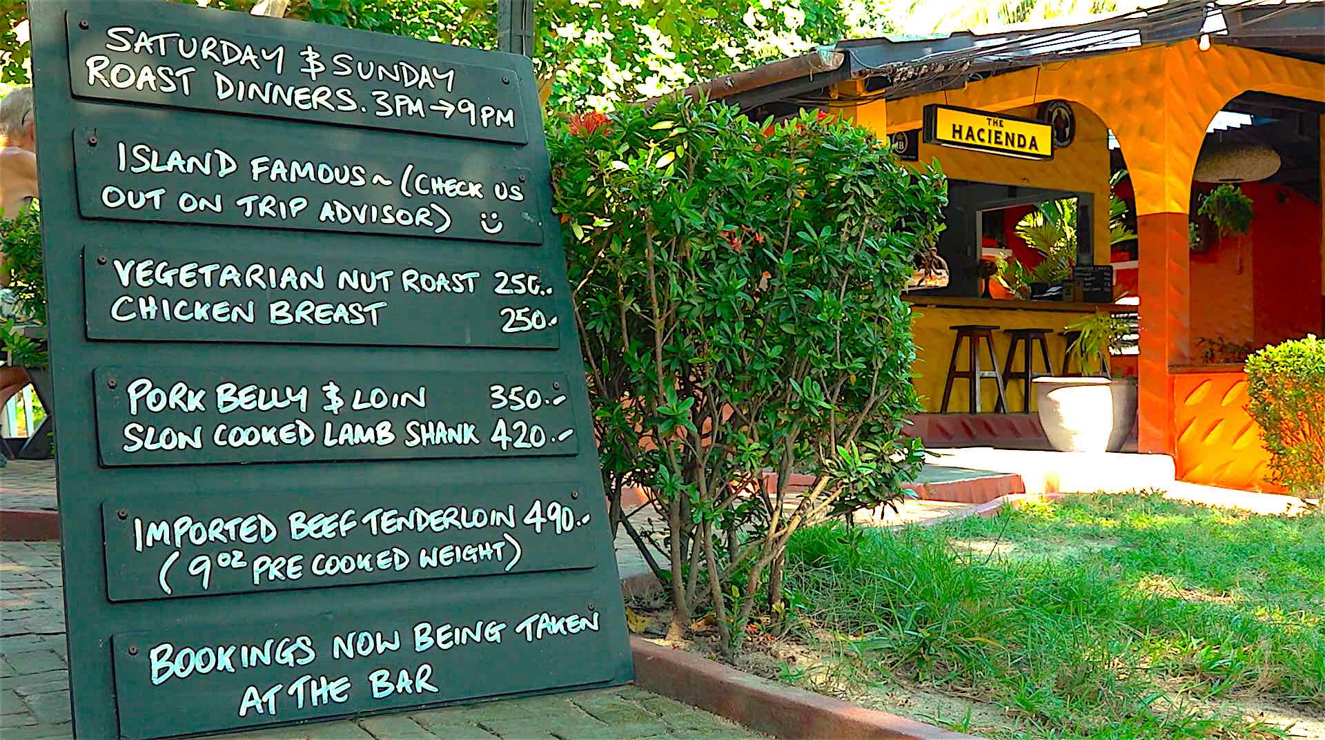 www.thefunkyturtle.com hacienda bar and grill restaurant koh tao food menu