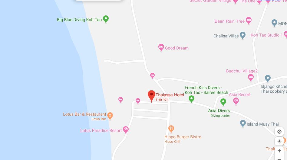 thefunkyturtle.com thalassa hotel sairee koh tao location