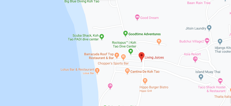 thefunkyturtle.com cafes and coffee shops on koh tao living juices location