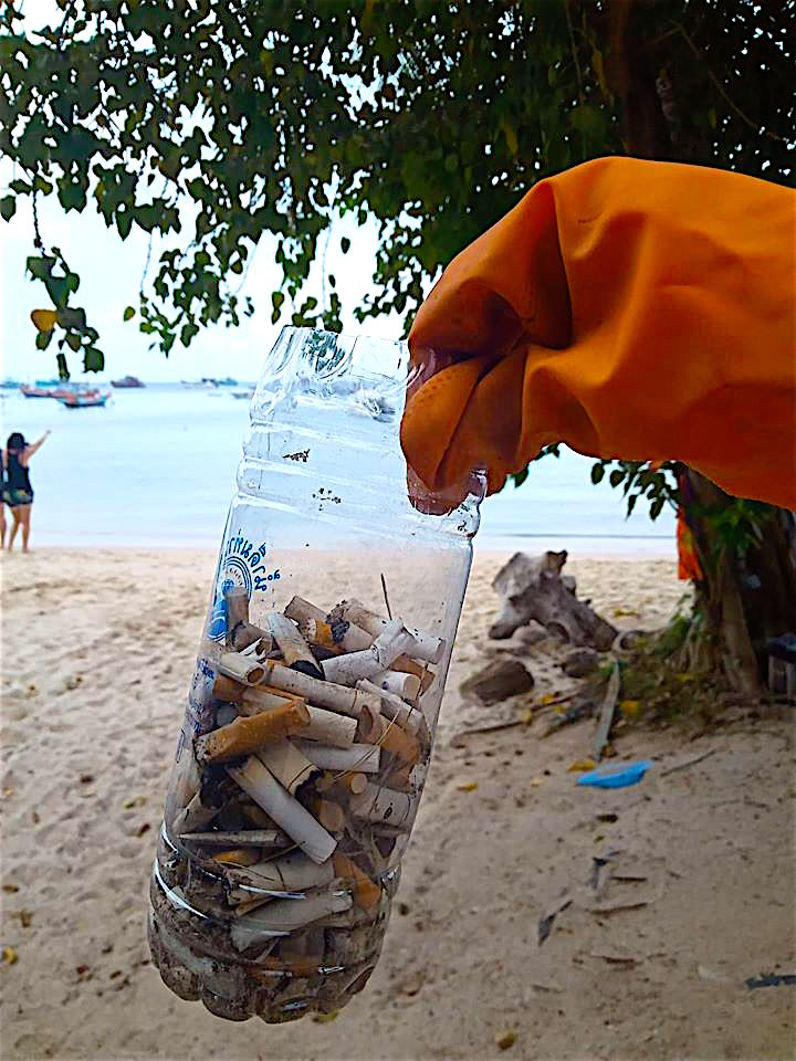 www.thefunkyturtle.com cigarette butt challenge clean up koh tao