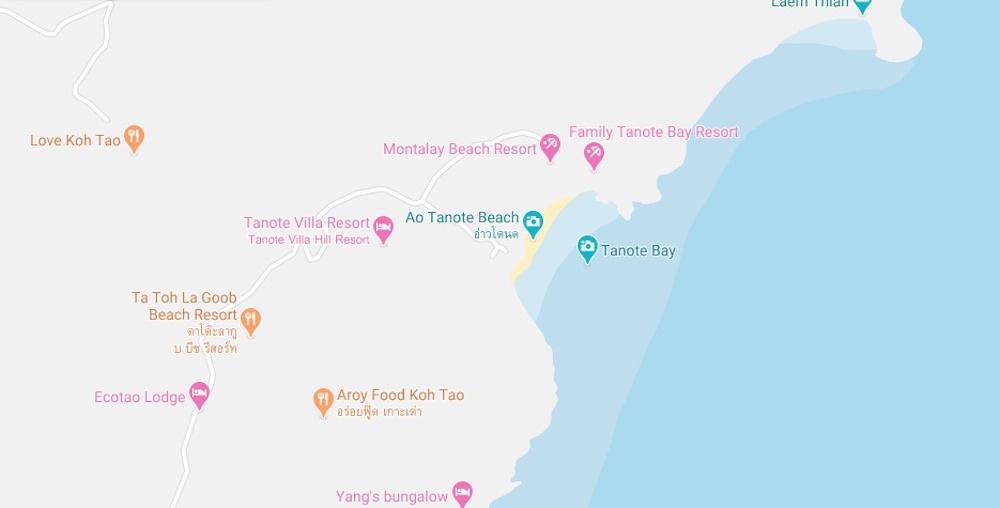 thefunkyturtle.com tanote beach koh tao map location