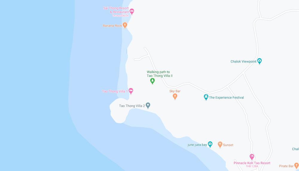 thefunkyturtle.com tao thong beach koh tao map location