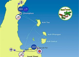 Travel Route Map to Koh Tao